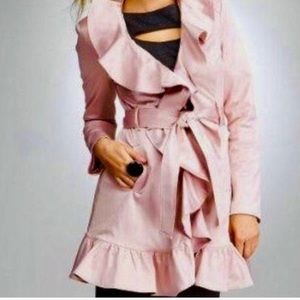 Bebe Pink Satin Ruffled Trench Coat Sz Small